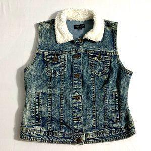 Denim Vest Sherpa Collar New Look Brand Sz. L